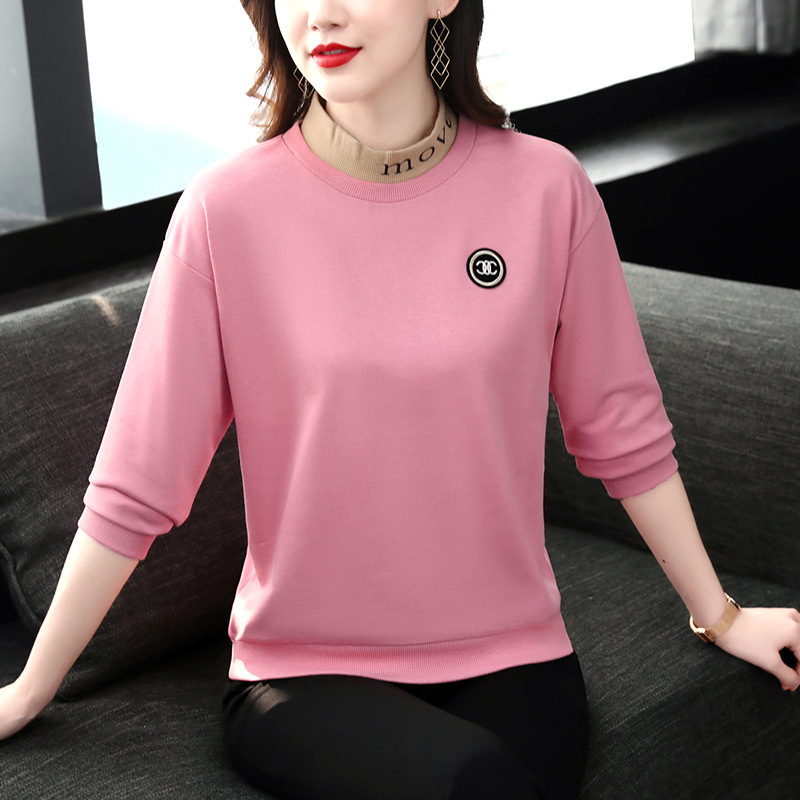 Long sleeved T-shirt womens spring and autumn half high collar cotton middle-aged mothers bottomed shirt womens sweater middle collar Sports Top