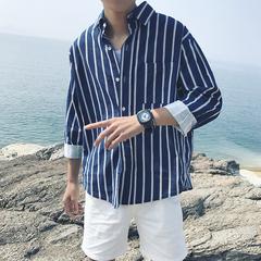 2018秋装韩国男士条纹宽松衬衣 百搭潮男衬衫(不低于68)C108P55