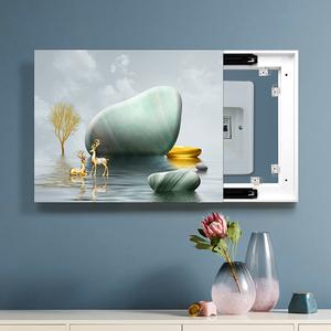 电表箱装饰画配电箱可推拉遮挡北欧壁画客厅总开关闸盒免打孔轻奢