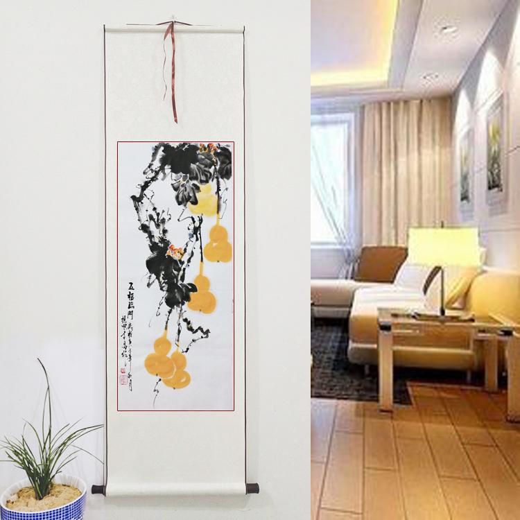 寫意花鳥畫定制卷軸畫國畫葫蘆福祿圖五福臨門手繪真跡客廳裝飾畫