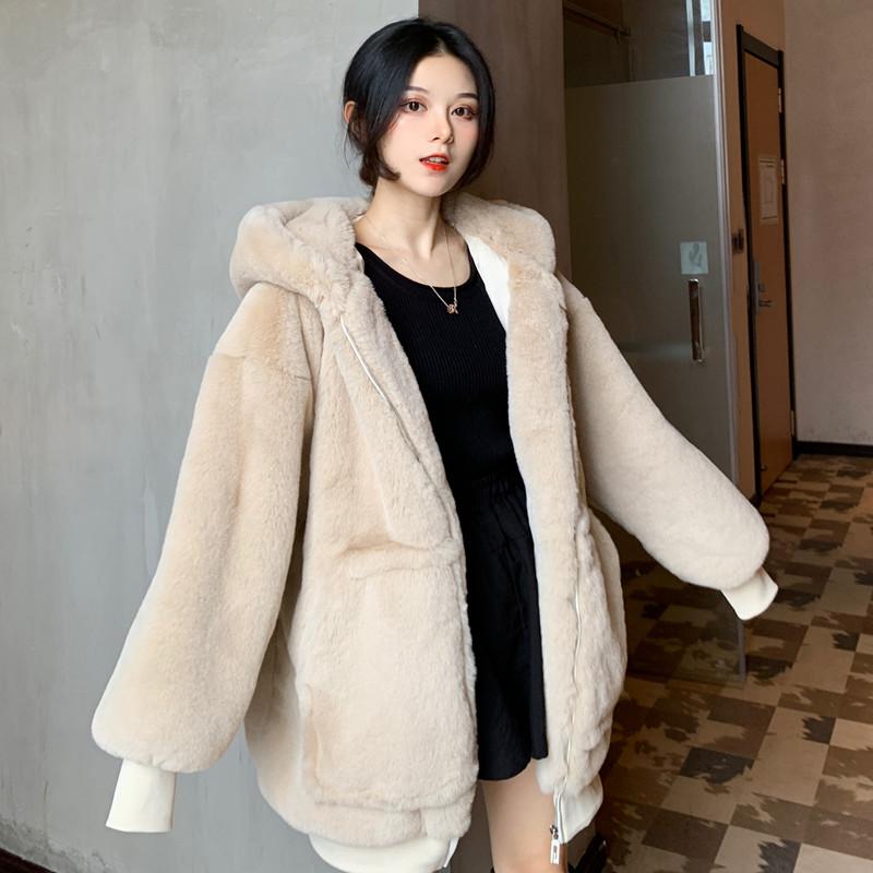 2020 fur coat womens middle long loose imitation rabbit hair zipper hooded thickened winter new plush coat