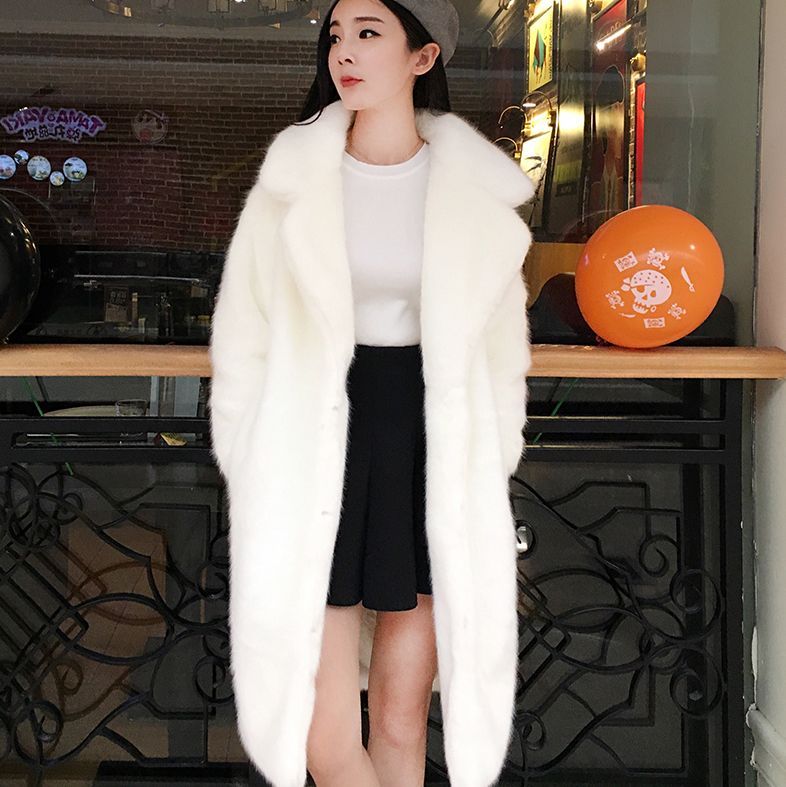 Autumn and winter 2020 new fur like medium length coat mink like thickened warm coat Korean loose womens clothing