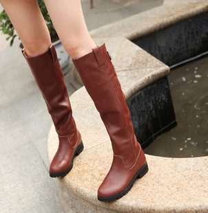 2015 new winter plus velvet genuine leather high boots with flat boots female knight boots boots Martin boots