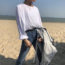韓版 內搭短袖 t恤女2020新款 上衣 春裝 百搭純色打底衫 白色寬松長袖