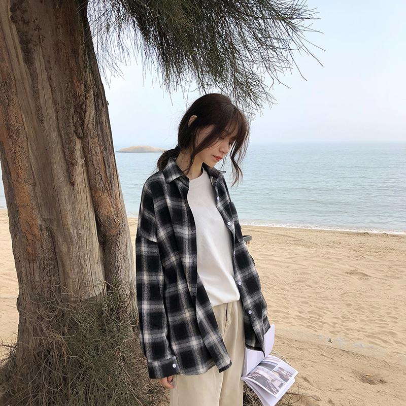 复古chic格子衬衫2018春夏季新款韩版宽松显瘦开衫外套学生女衬衣
