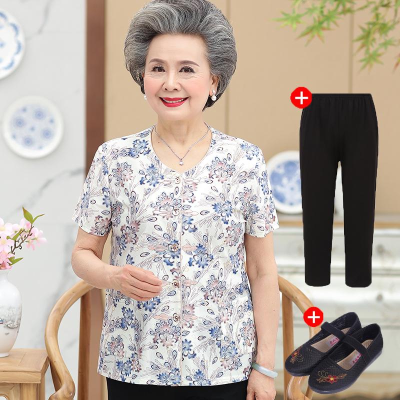 中老年人夏装女装短袖妈妈上衣60岁奶奶装套装70老人衣服夏季服装