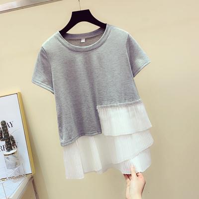 不规则拼接镶钻短袖纯棉t恤女2020春夏新款韩版宽松学生半袖体恤