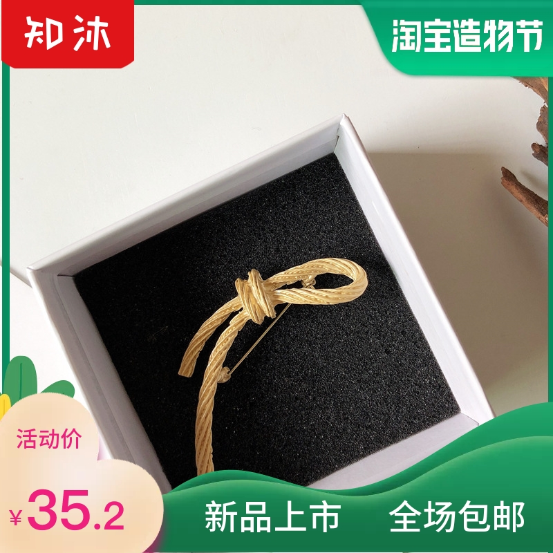 European and American style Retro Vintage Vintage bow geometric leaves high grade court Gold Brooch Pin female trend