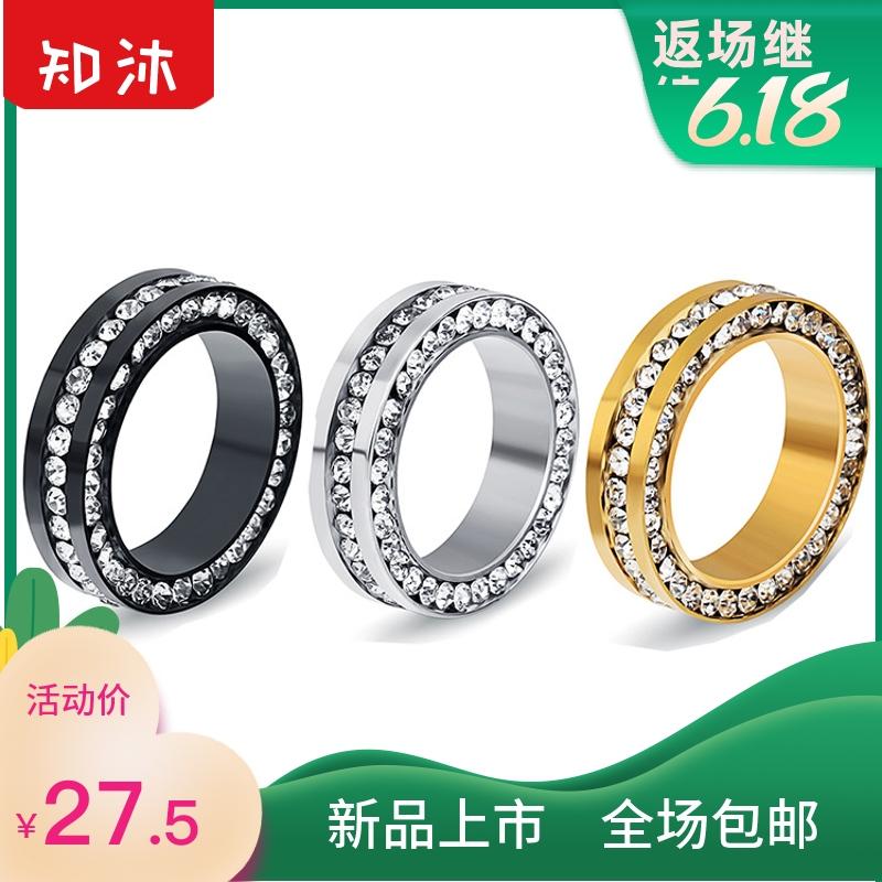 中國代購|中國批發-ibuy99|女士饰品|欧美时尚镶钻不锈钢戒指 钛钢女士镶钻戒指手饰品