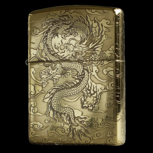 Genuine Zippo windproof lighter pure copper armor with five sides etched around xiangyunlong flying dragon playing with beads mens gift