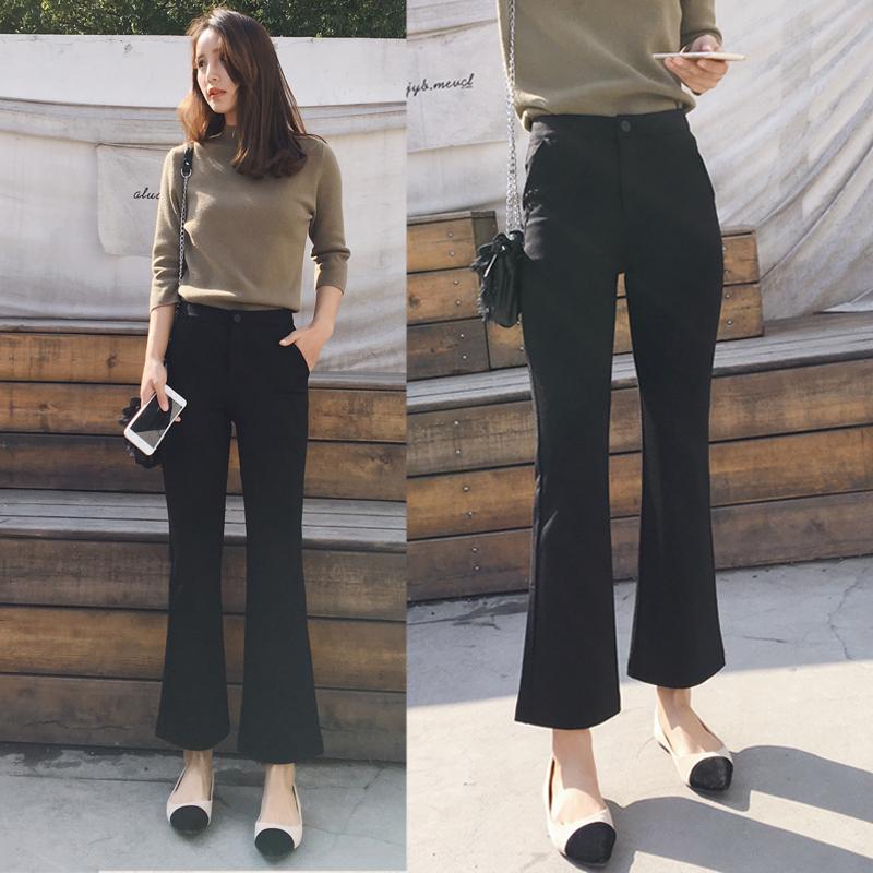 ラッパズボンの女性の大きいサイズの新型の春夏9分のズボンの高腰はやせています。