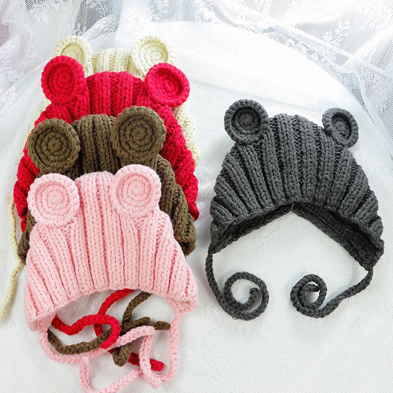 宝宝帽子儿童帽毛线护耳防风保暖冬帽婴儿手钩童帽防风帽男女帽子