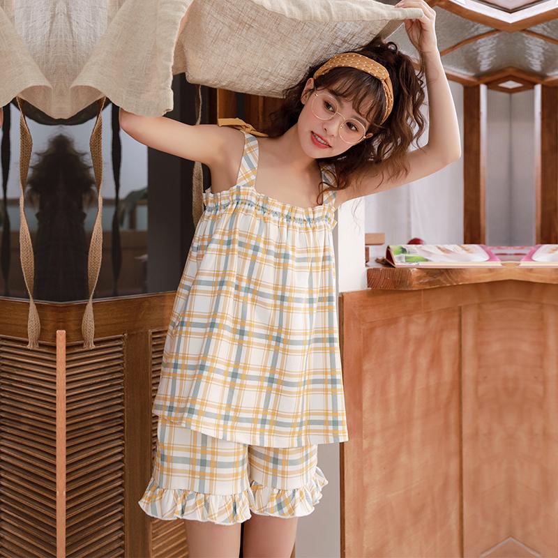 可外穿清新格子吊带睡衣女夏纯棉两件套装夏季可爱少女全棉家居服