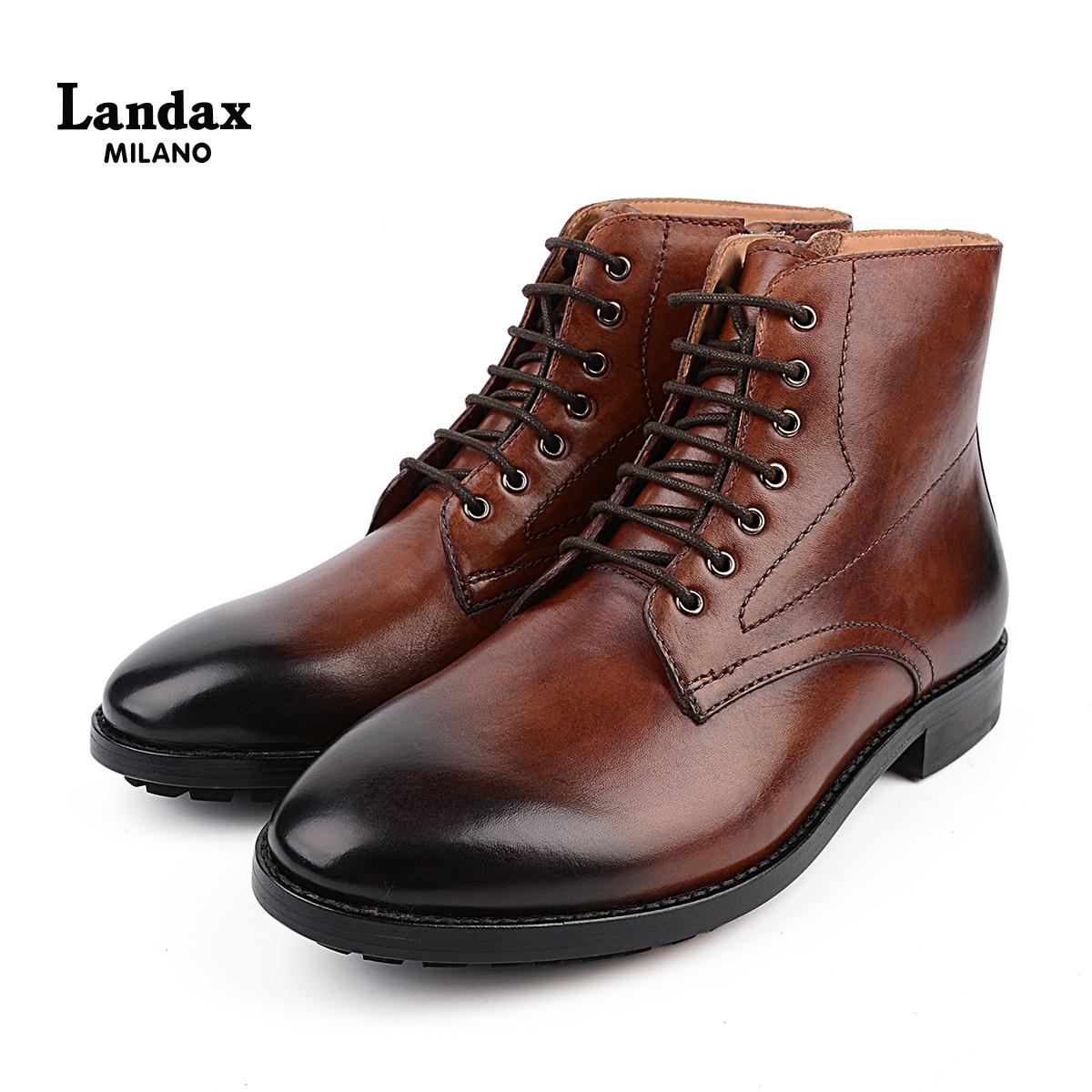 Landax男士手工马丁靴 头层牛皮系带擦色男靴 时尚英伦牛皮短靴男