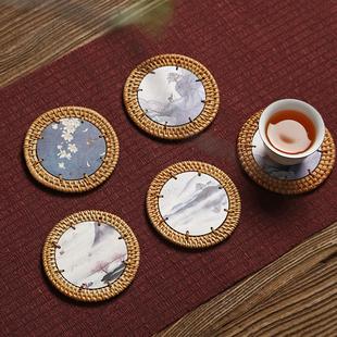 杯垫藤编禅意茶杯托 壶垫壶承隔热餐垫 功夫茶具茶道配件手工越南