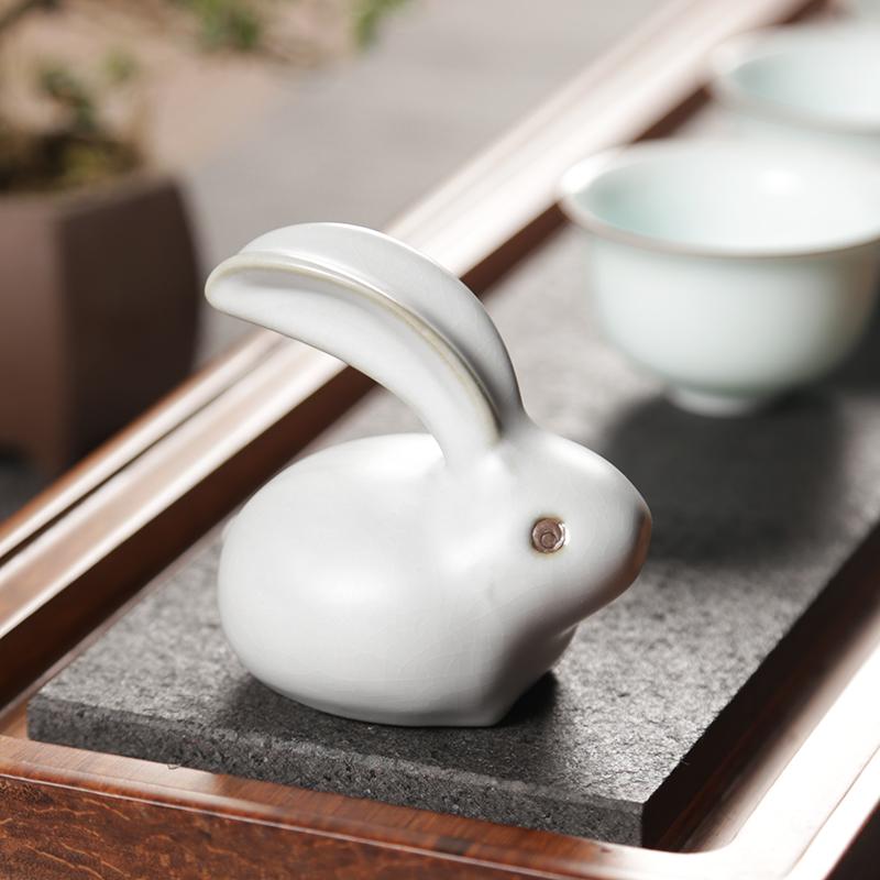 汝窑开片可养小兔子创意紫砂茶盘