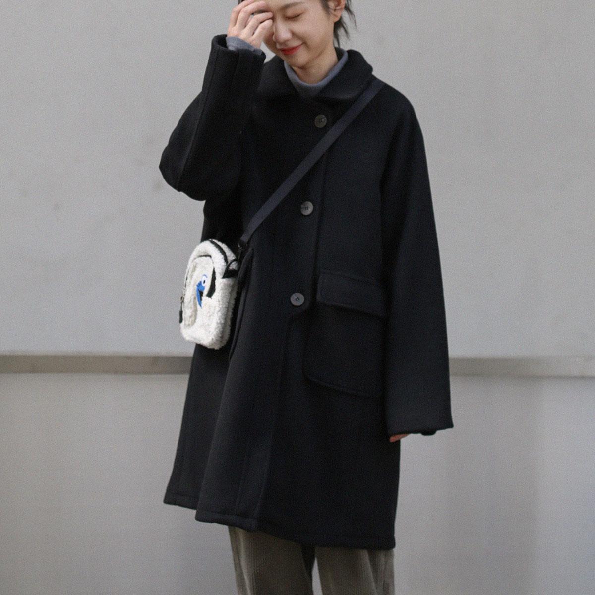 三木社 自制复古中长款毛呢外套女简约百搭呢大衣设计感门襟冬装