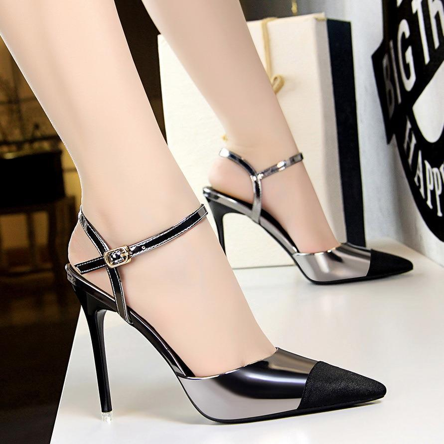 Summer European and American fashion professional ol womens shoes thin heel shallow mouth high heels sexy thin hollow color matching pointed sandals