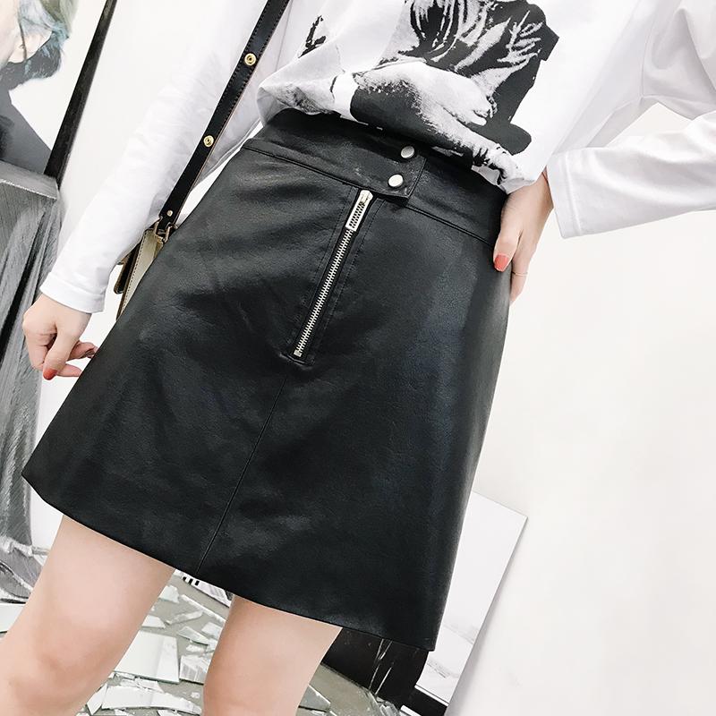 K姐自制 复古皮裙 两色可选明拉链装饰包臀皮裙百搭显瘦半身裙女