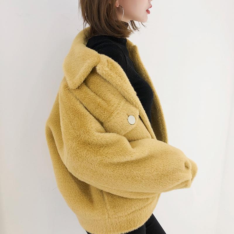 K姐自制 短款黄金貂大衣 四色复古翻领宽松长袖气质毛茸茸短外套