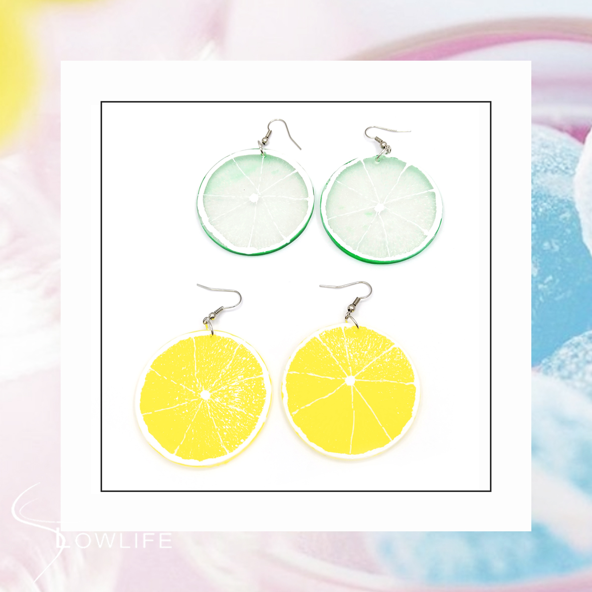 DIY hand made fresh and cool orange and lemon slices, Harajuku style simple earrings, earrings, ear clip full of mail