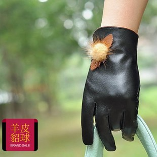Ms sheep skin mink ball glove lovely warm autumn and winter Korean version of cycling fitness leather gloves Hot