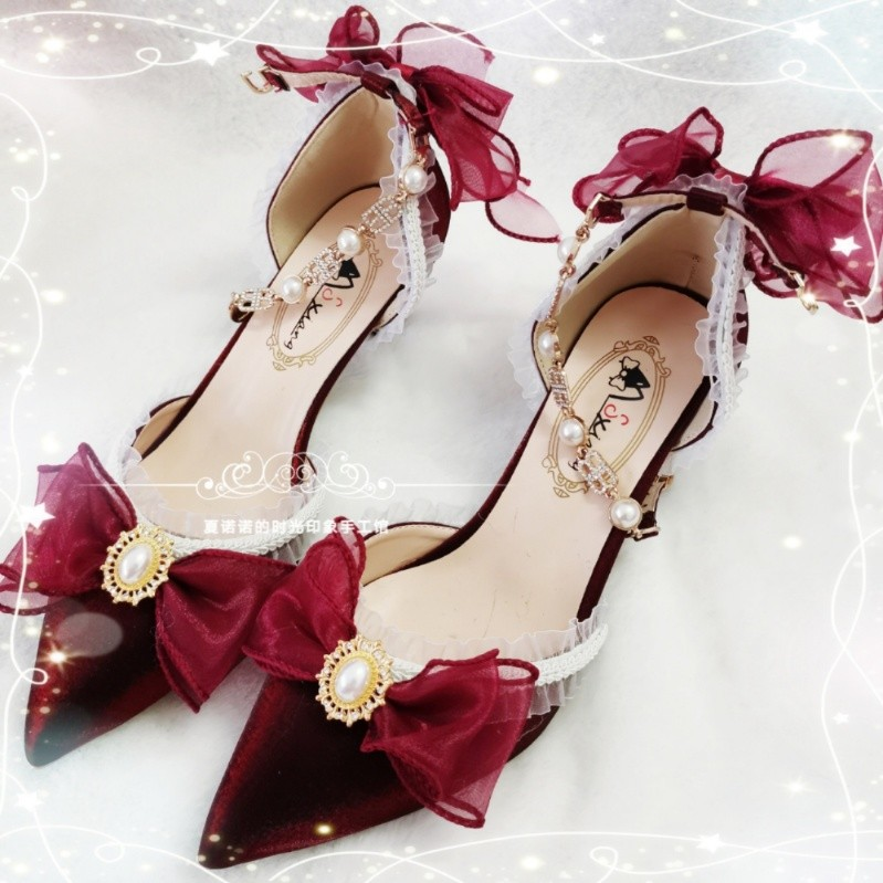 Hand made shoes Lolita cup and tea party flower wedding wine red nine songs Taiyan beast West Island dream