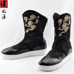 中国风复古官靴祥云刺绣男士男鞋