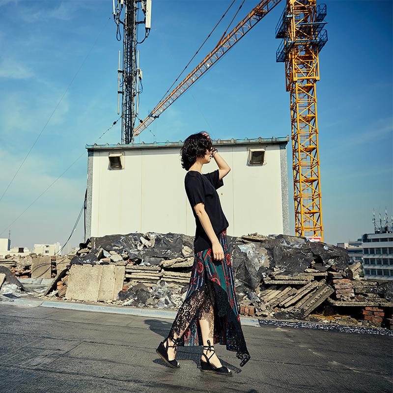 绣绣天原创自制女装 2018春装新款英伦复古气质蕾丝半身裙女长款