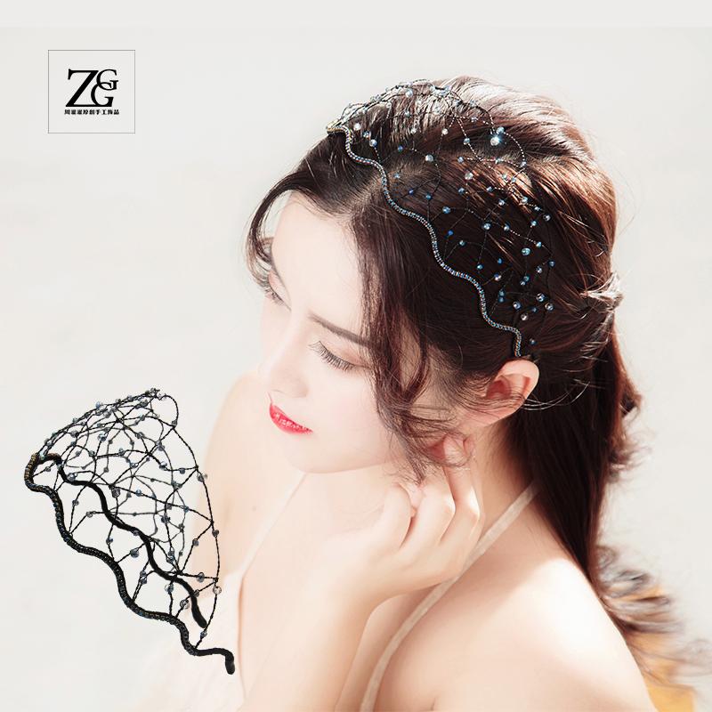 Versatile inssen super fairy hair accessories imitation crystal hair net hair hoop fashion Korean hairpin head hoop pressure hair female crown