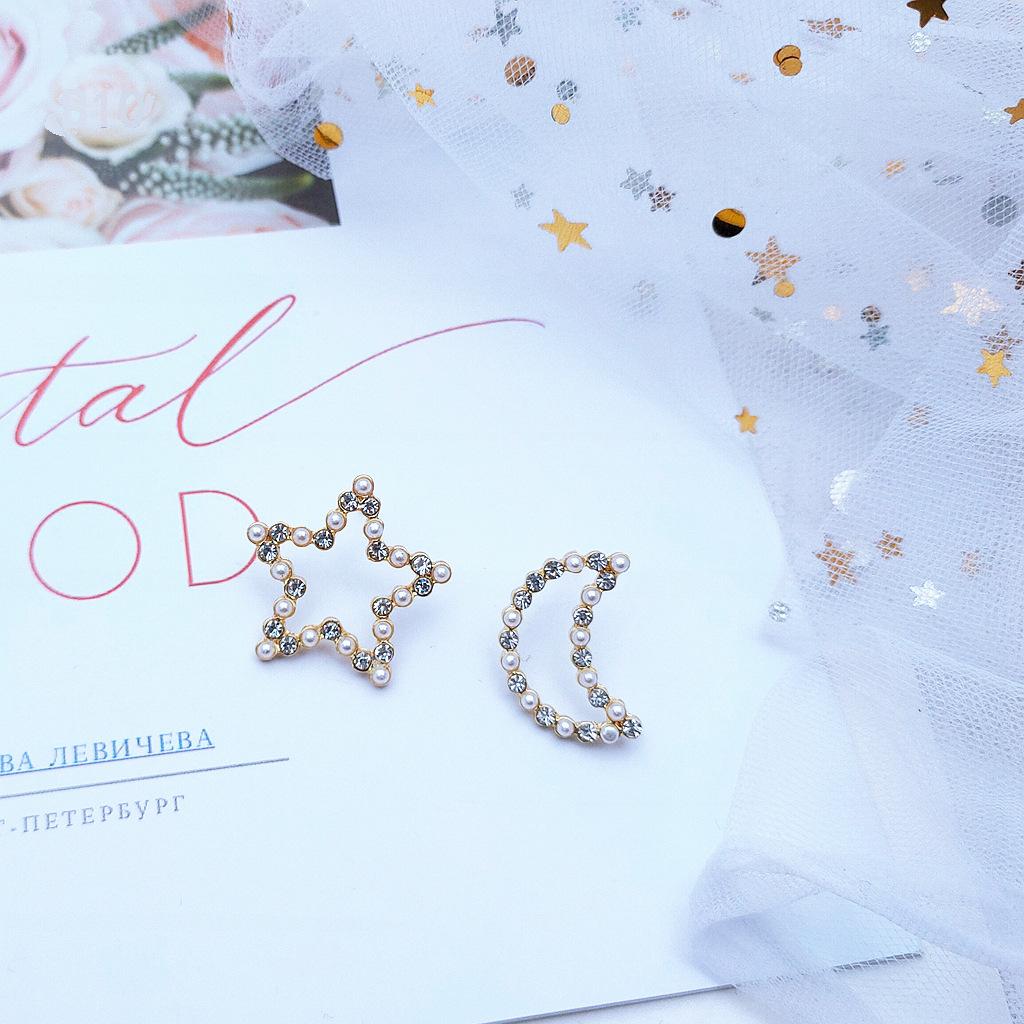 925银针星星月亮不对称耳钉 钻石珍珠耳饰 几何耳环