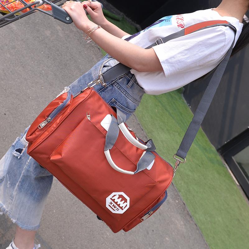 韩版大容量旅行袋手提旅行包轻便简约潮男小行李包女短途旅游健身