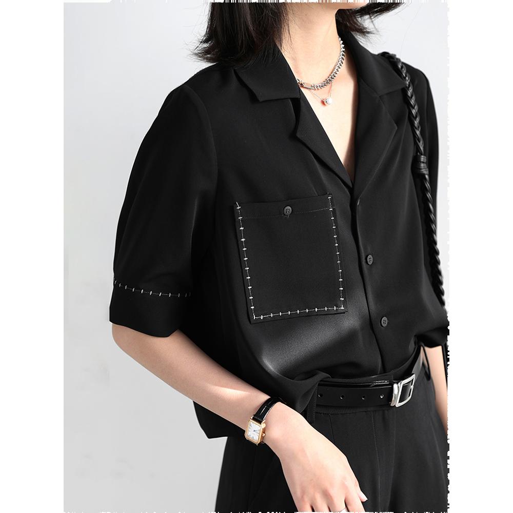 设计感小众短袖宽松衬衫女装别致垂感翻领上衣黑色雪纺衬衣显瘦夏