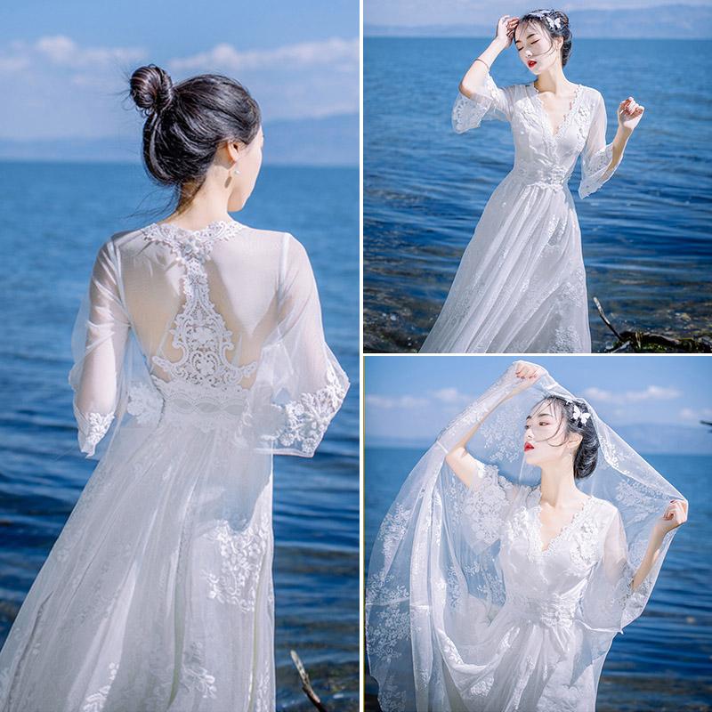春夏网纱波西米亚蕾丝连衣裙修身显瘦海边度假沙滩裙大摆露背长裙