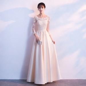香槟色伴娘服2021新款婚礼闺蜜装姐妹团长袖长款显瘦晚礼服长裙女