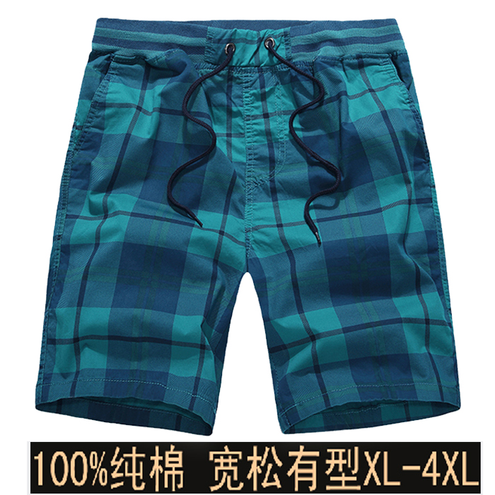 Big trouser head mens beach pants cotton home Plaid plus fat mens shorts summer casual pants loose