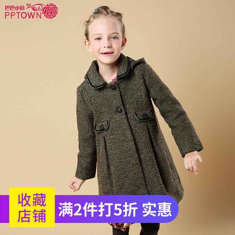 女童中长款外套2019秋冬新款儿童长袖衫连帽外套女孩保暖大衣4470