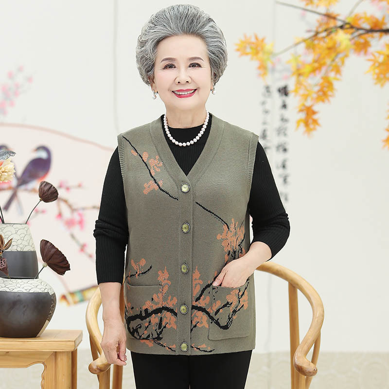2020 autumn new womens woolen vest middle-aged and elderly mothers cardigan vest loose large sweater thick