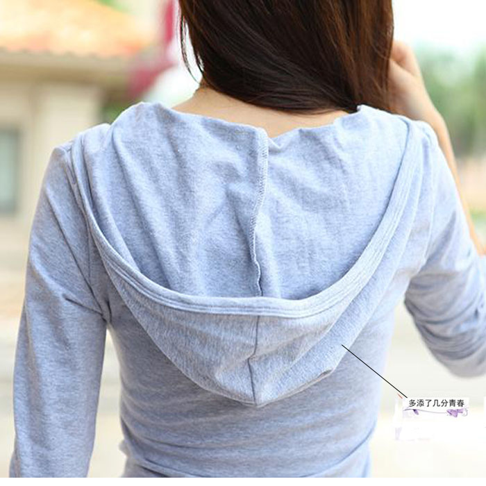 Solid color autumn long sleeve slim Korean V-neck girls undergarment T-shirt with big chest and hat