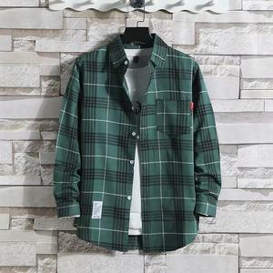 格子衬衫男士长袖韩版宽松潮流保暖大码学生外套加绒加厚男装衬衣