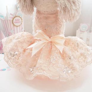 立体花边礼服 宠物公主装春夏季兔子猫咪泰迪比熊吉娃娃服装裙子