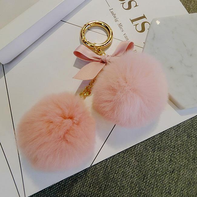 韩国兔毛毛球挂件钥匙扣毛绒汽车钥匙链男女包包挂饰可爱创意装饰