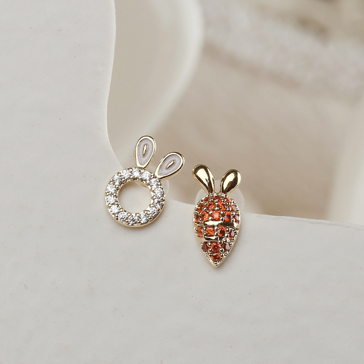 小巧不对称设计925银针耳钉小众简约学生可爱精致耳环兔子胡萝卜限5000张券