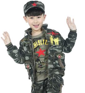 儿童迷彩服套装中小童纯棉休闲男童春秋小军人军装纯棉外套太阳帽