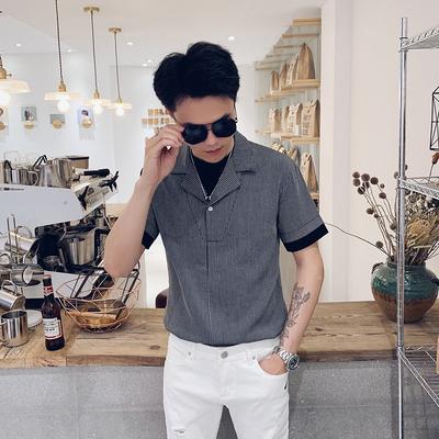 2019夏装精神小伙套头短袖男装快手社会短袖假两件衬衫C9921特P55