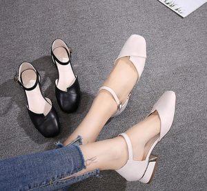 包头凉鞋女粗跟方头仙女风中跟一字扣高跟鞋女鞋小码323334大码41