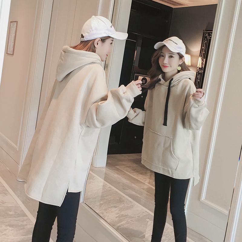 冬季卫衣女韩版学生宽松bf连帽加绒加厚小清新chic学院风百搭外套