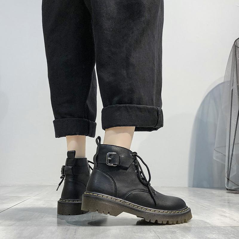 马丁靴女英伦风2019新款秋冬季棉鞋加绒骑士靴厚底百搭黑色短靴子