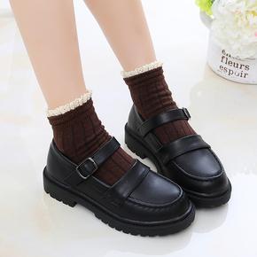 儿童鞋女童皮鞋2021新款真皮英伦风公主鞋中大童黑色学生演出鞋子