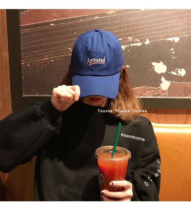 帽子女春夏新品休闲软顶刺绣鸭舌帽韩版潮显白宝蓝色弯檐棒球帽